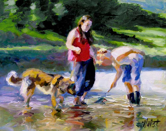 Clam Diggers - Oil on Panel
