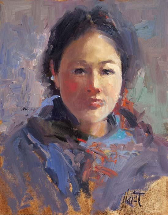 Girl from the Hills, Nepal - Oil on Linen