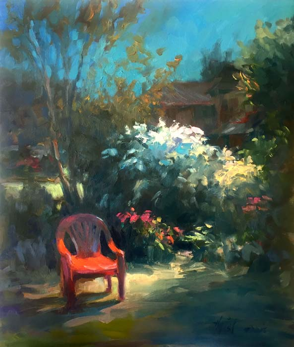 Red Chair by Lamplight - 19x17 - Oil