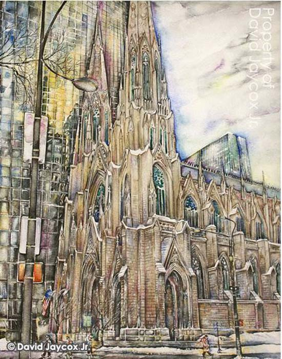 Jaycox Jr, David - St. Patrick's Cathedral in the Snow