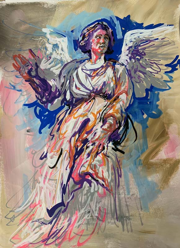 Paint Marker Angel, mixed media on paper, $320