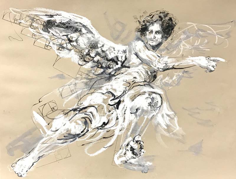 The Golden Ratio is One's Access to Flight, mixed media on paper,  24 x 18-$450
