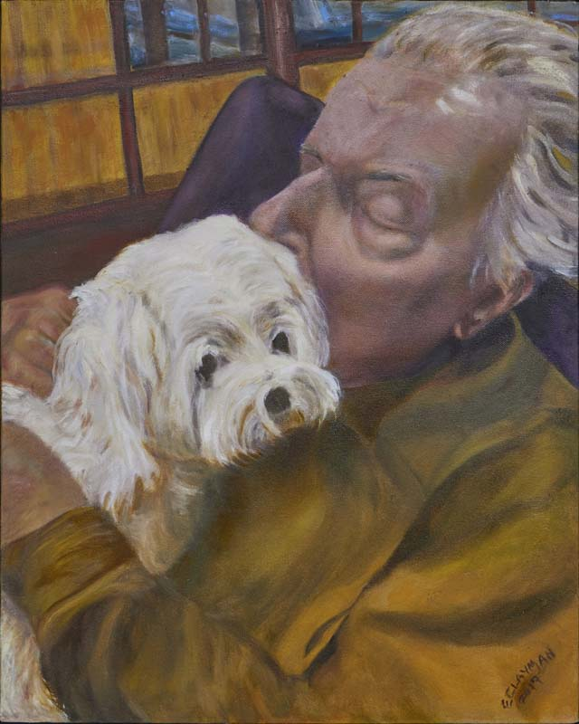 Elaine Clayman-Assisted Living (Jack and Chloe)-Oil on Linen-$1200