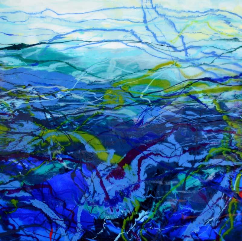 Barbara Bilotta-Lumininous Waters-Acrylic with Resin-$2000