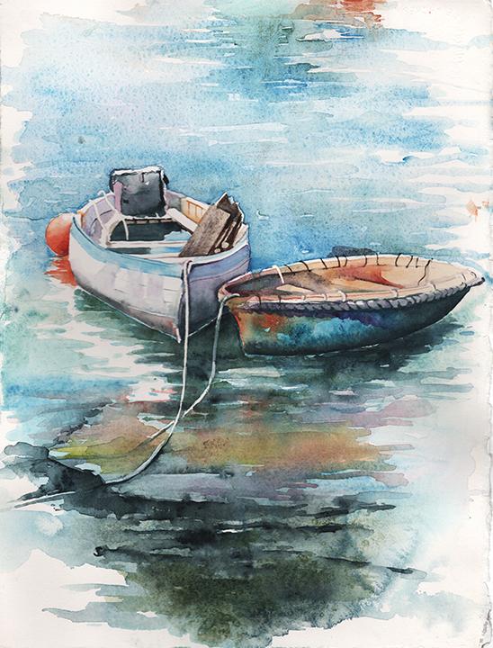 Jan Guarino-Row Me Away-Watercolor-$550