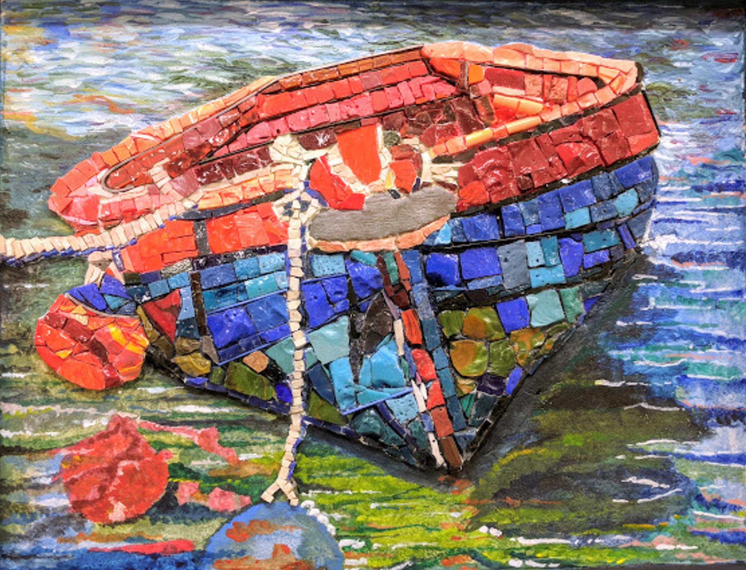 Gabriella Grama-Morning at the Bay-Mosaic tiles, stained glass, Mixed Media-$560