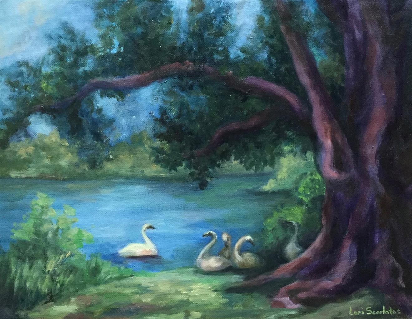 Lori Scarlatos-Swan Family: at Frank Melville Memorial Park, Setauket-Oil-$240