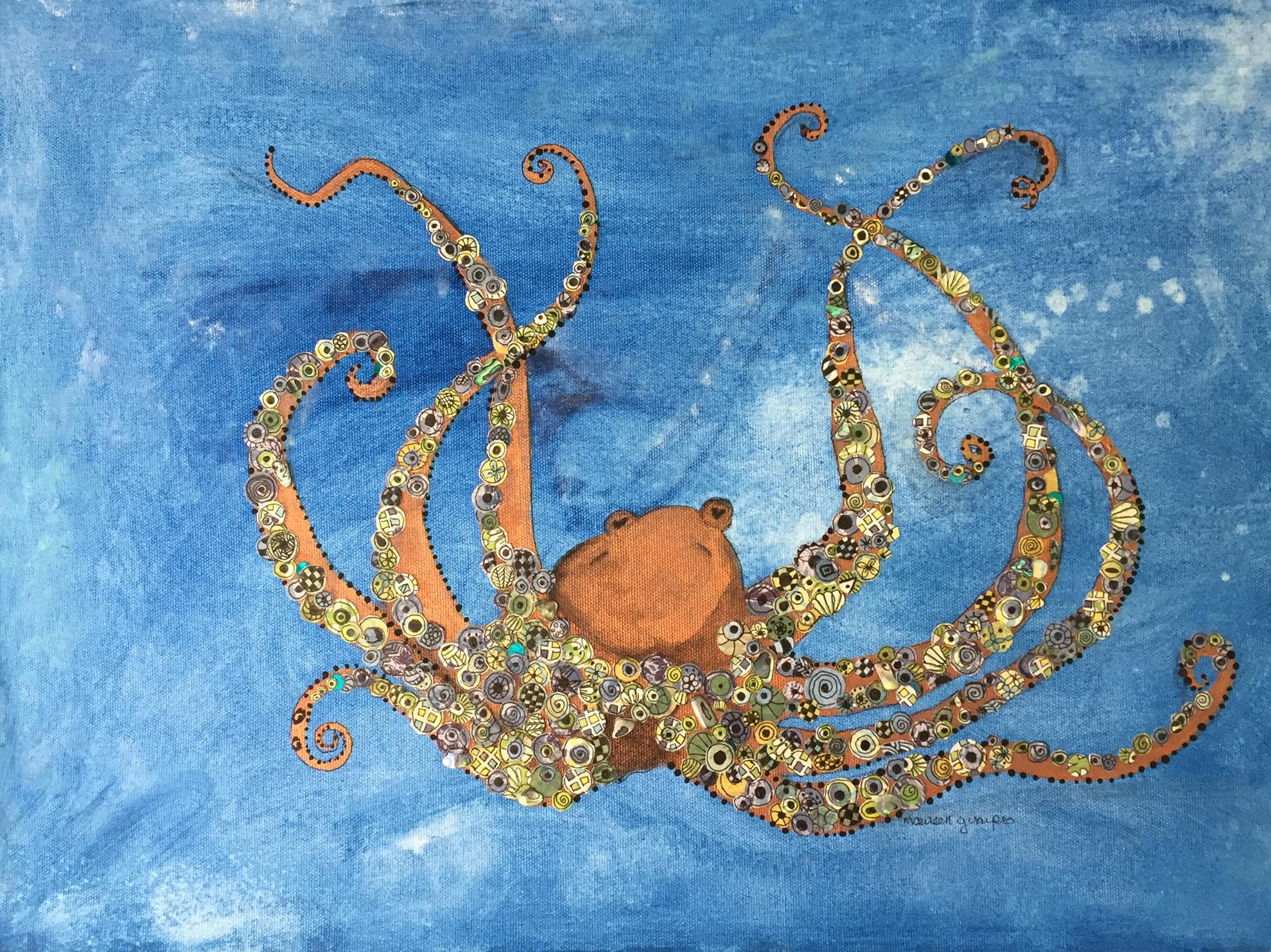 Maureen Ginipro-Octopus' Garden-Mixed Media-$300