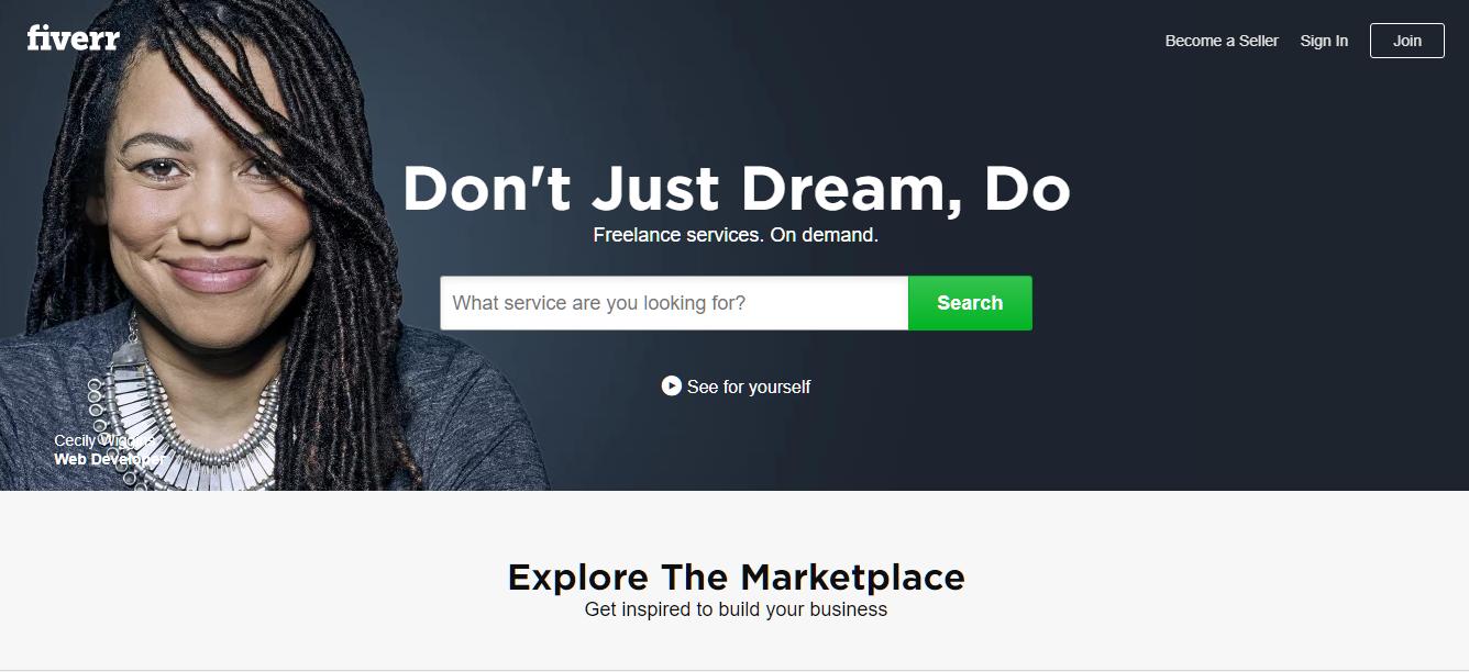 Fiverr's homepage