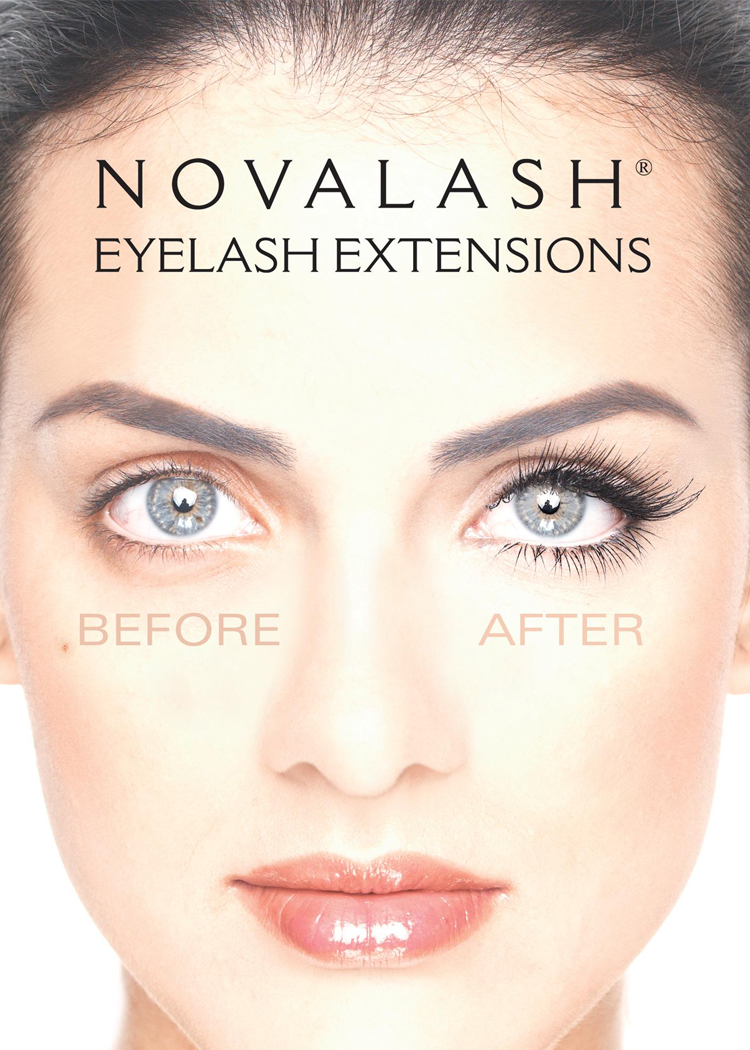 NOVALASH EXTENSIONS -  Full Set $130Novalash® Eyelash Extensions lengthen each natural lash and thicken the lash line for a darker, more radiant look. They are waterproof, sweat proof and contain an oil-proof adhesive that can last up to six weeks. No need for mascara.Refills $75Every three weeks, refills are recommended. After 4 weeks, it is considered a full set.