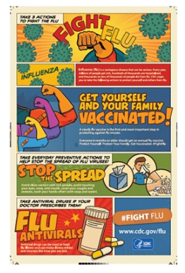 The CDC recommends a yearly seasonal flu vaccine for everyone aged 6 months and older by the end of October, if possible. It takes about two weeks after vaccination for antibodies to develop in the body to protect against flu virus infection. Protect your health and the health of those you care for by getting your flu vaccine this year!