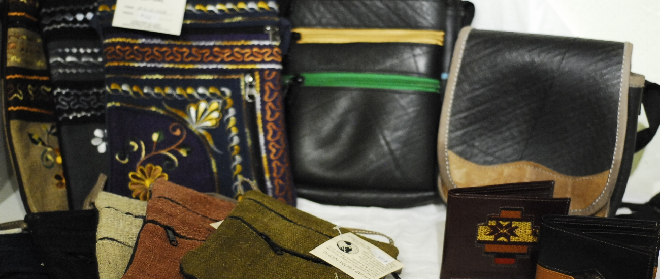- Purses, bags, and wallets that reflect the diverse resources, skills,  and traditions of  the producers of these unique items.  Recycled tire products, from used tires in Nepal and Columbia; lightweight shoulder bags of indigenous hemp, and cotton bags, with rich dyes and traditional embroidery.  Bags that are unique and well-made.