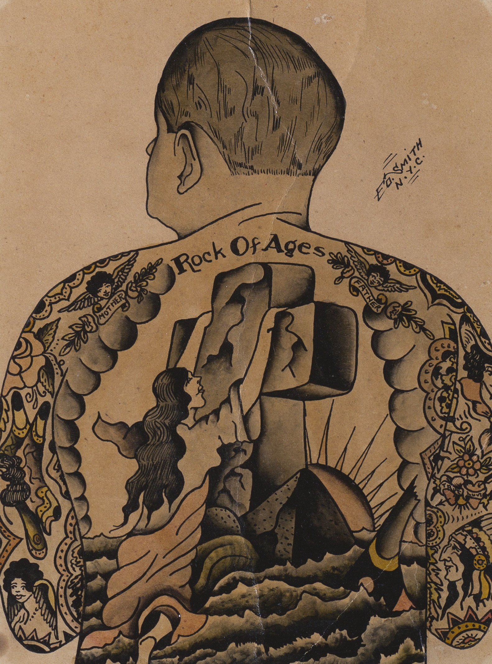 Self-Portrait Tattoo Flash, Painted by Ed Smith, NY, ca. 1930