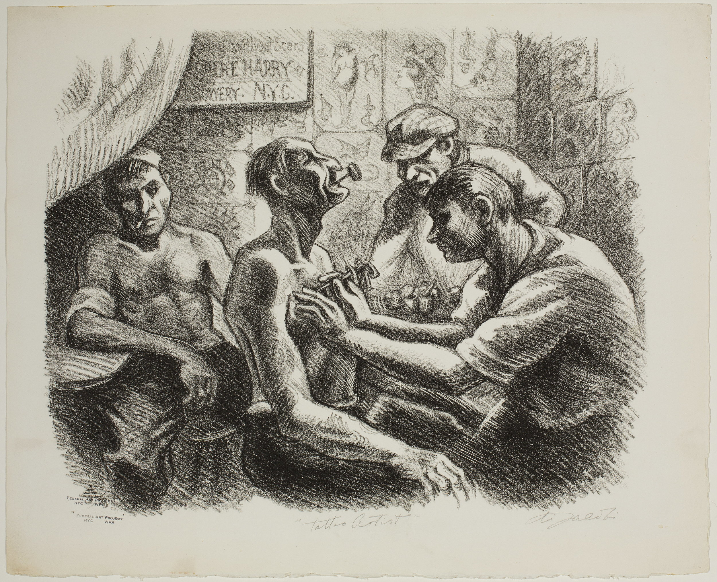 The Tattooist, Woodblock Print, by Eli Jacobi, NY, ca. 1935