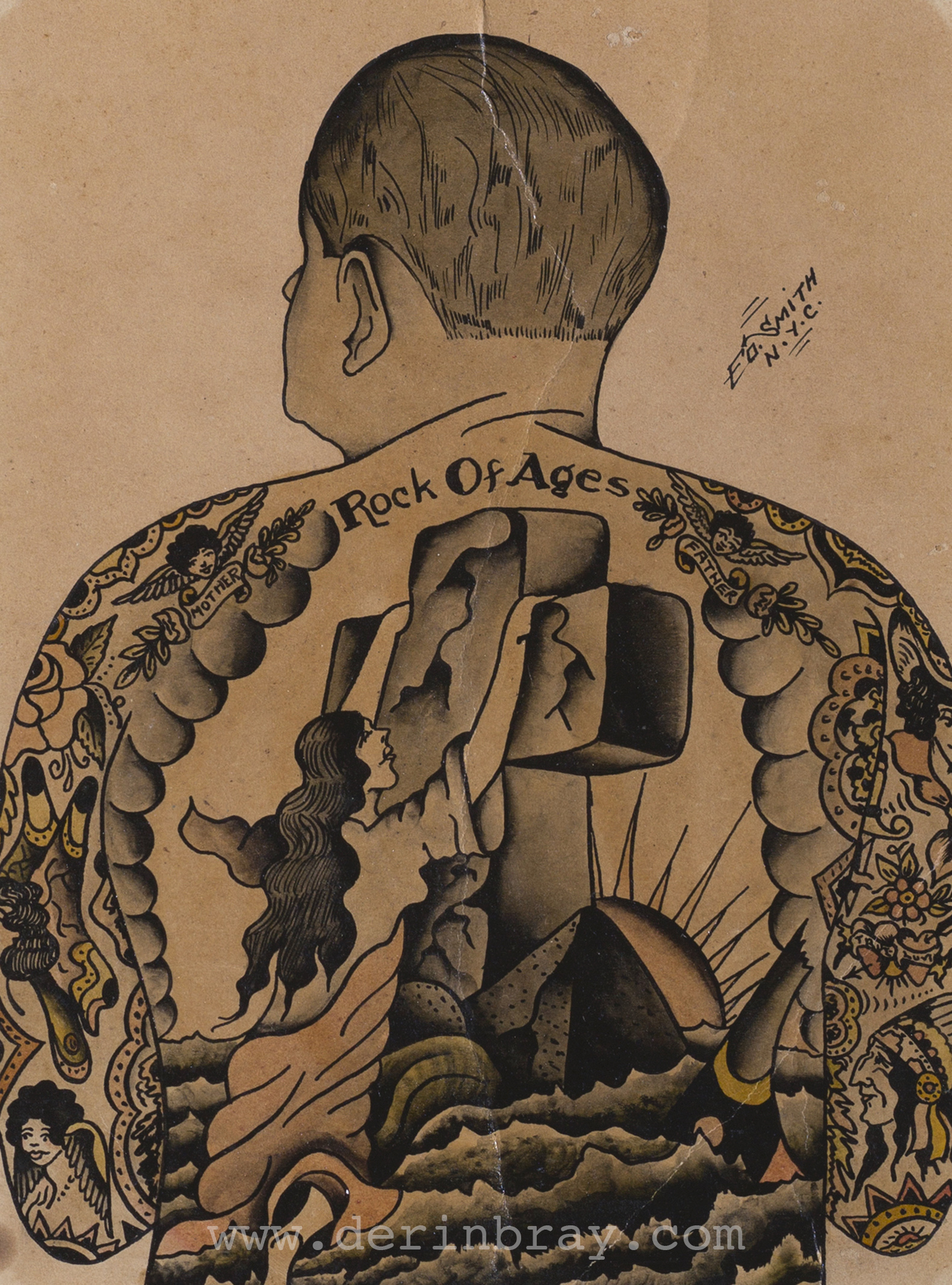 Self-Portrait Tattoo Flash, Painted by Ed Smith, NYC, ca. 1930