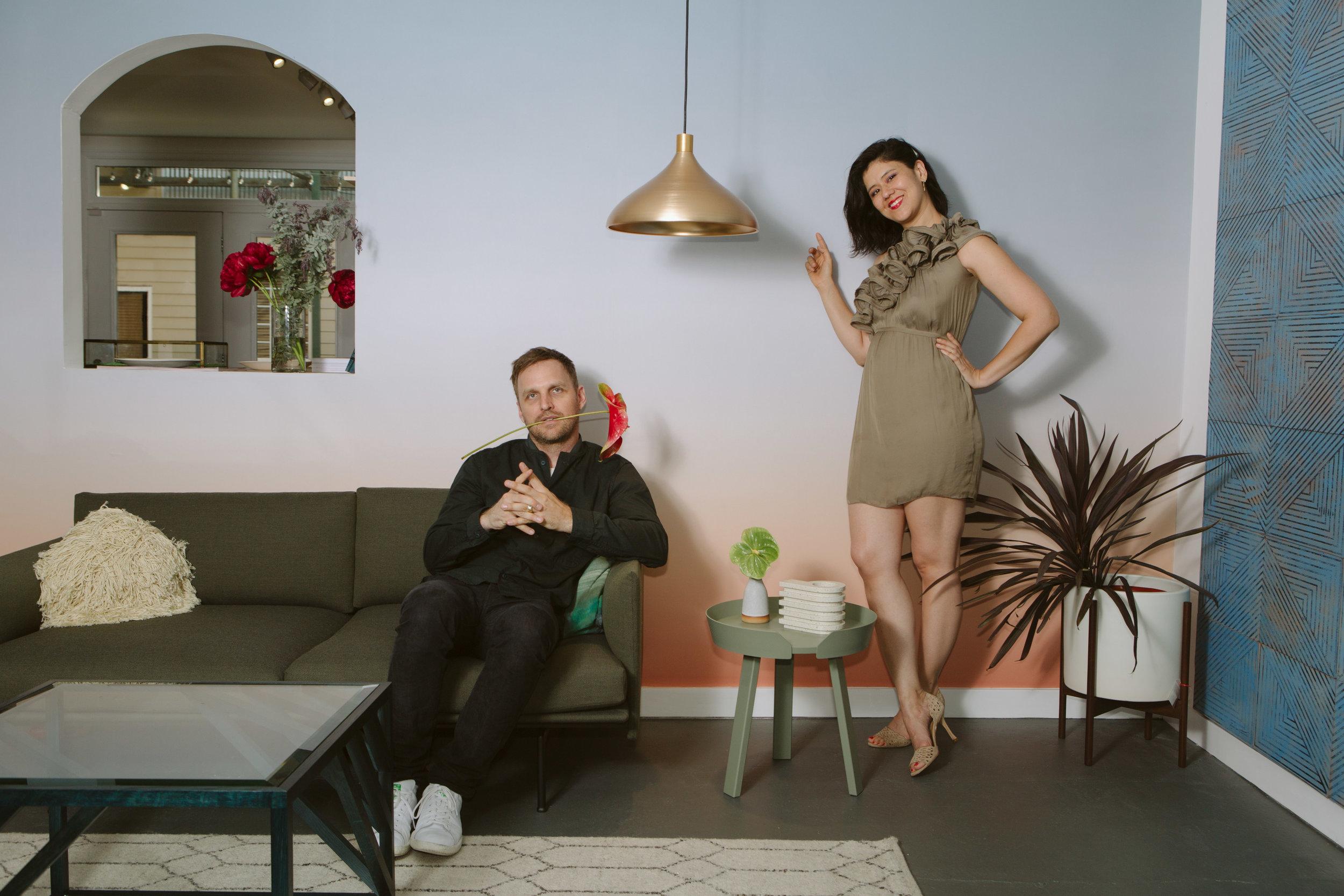 Ivy with her husband Josh at their design shop Wilder.