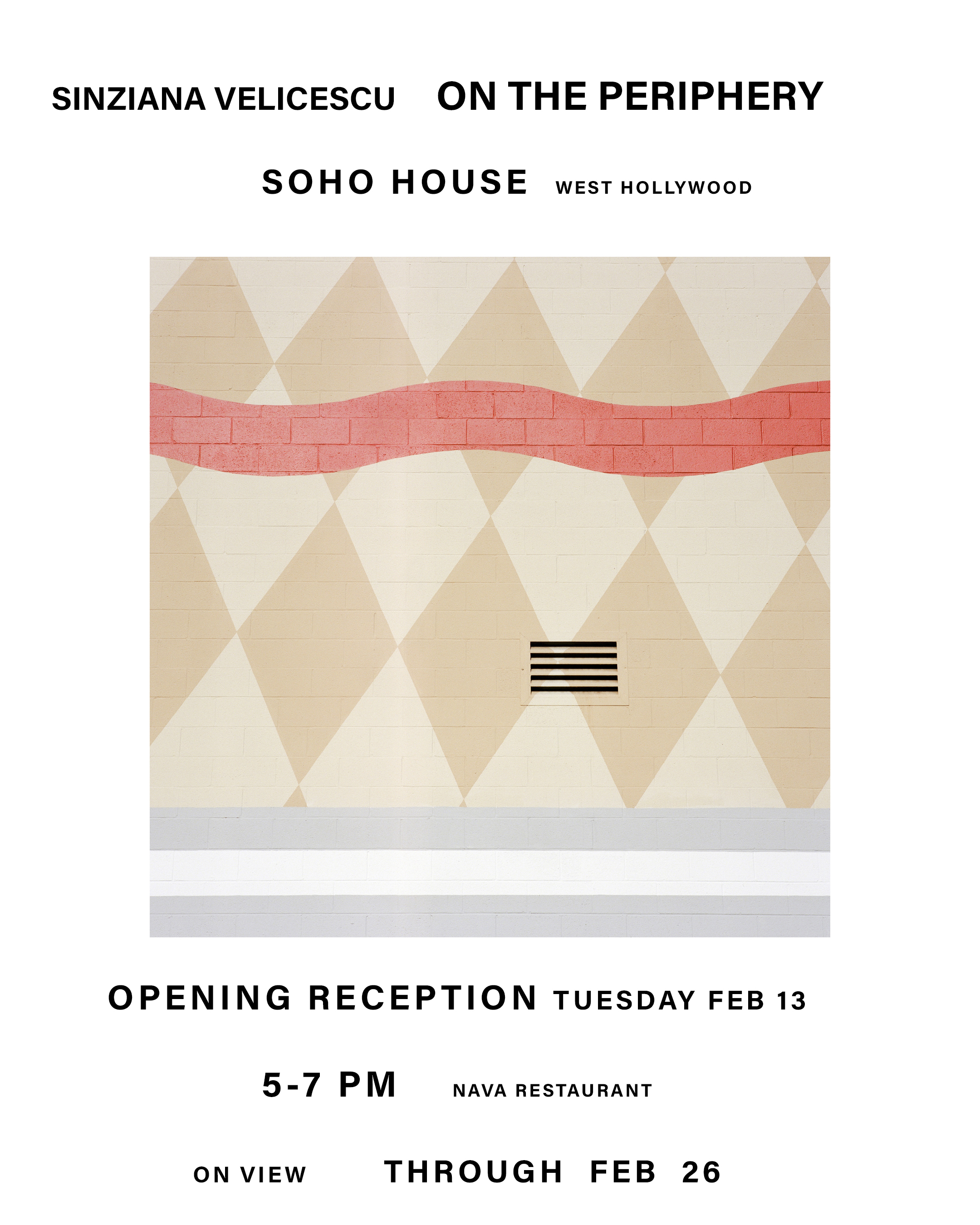 - SPECIAL EVENTTURNING IN PLACE: ARTIST PANELUprise Art + Soho House present an intimate event with LA-based photographers as they discuss their relationships with Los Angeles as a subject of, and background to their work. Curator Liz Lapp will lead a panel including photographers Sinziana Velicescu, Jessia Haye, Clark Hsiao, and Jordan Sullivan.February 23 - 8-10pmSoho House - Luckman Space9200 Sunset Blvd - West HollywoodOpen to Soho House members only