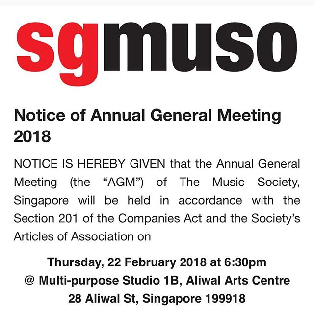 2018's going to be great. Come find out at our Annual General Meeting 2018 - 22 Feb 2018 6:30pm at multi purpose studio 1b at Aliwal arts centre. Link in bio. #sgmuso