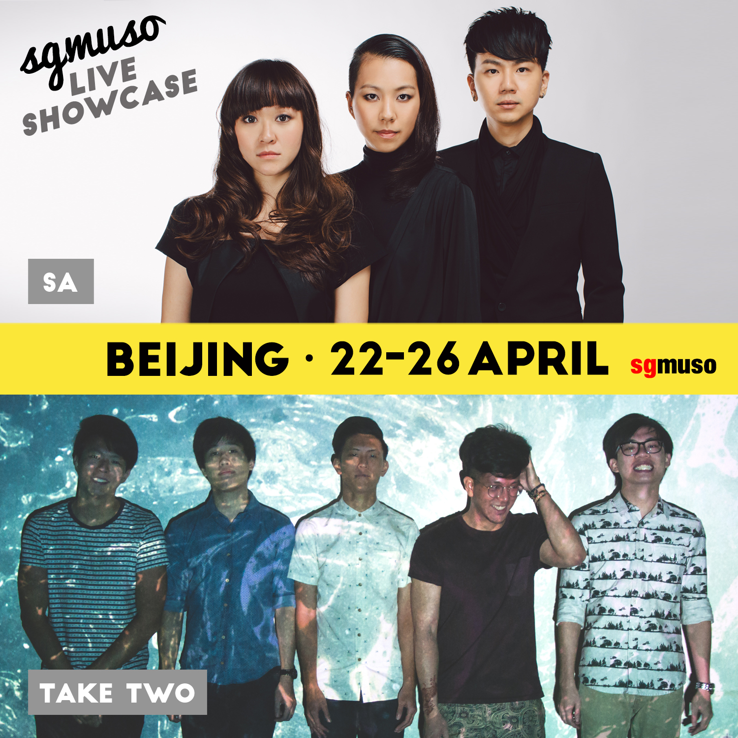 2015's acts for the SGMUSO showcase featured contemporary ethnic trio SA and indie pop outfit Take Two.