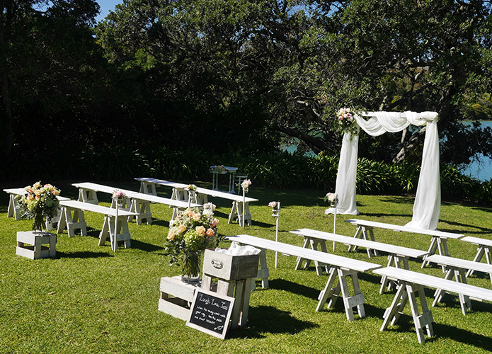 auckland wedding hire pop up ceremony set diy complete orakei bay