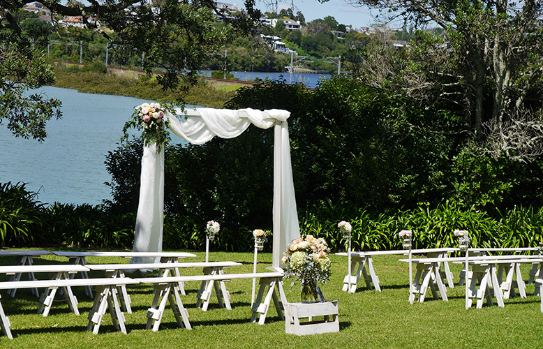 auckland wedding hire pop up ceremony set diy complete outside