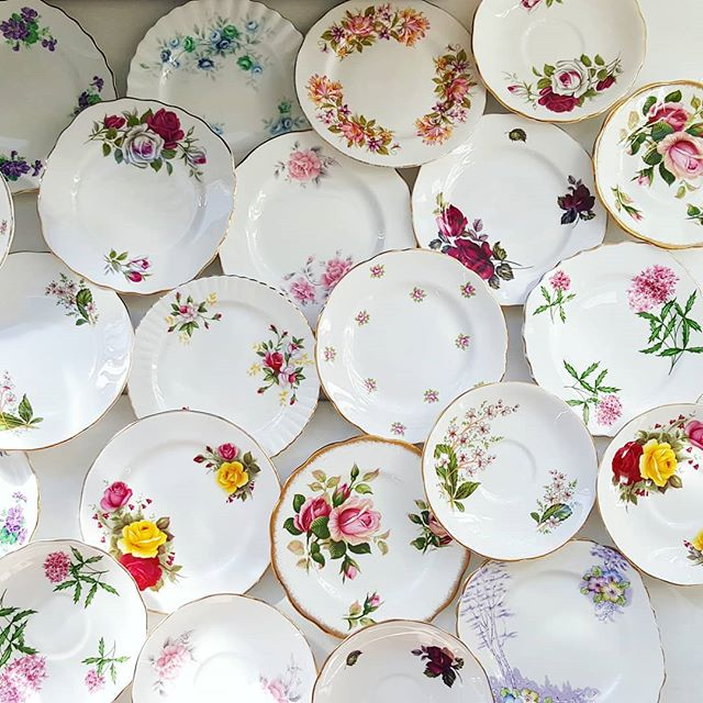 So cute they'll make your granny swoon. Plates and saucers for an 80th bday party. #timeless #teaparty #hightea