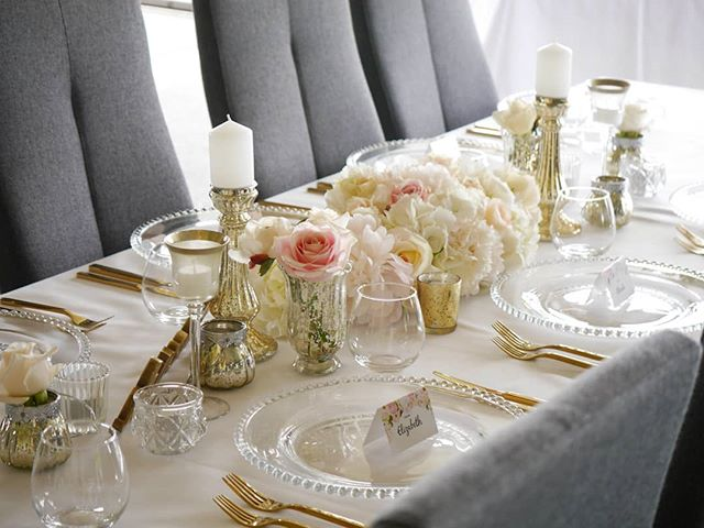 Gold luxe look tablescape giving us life #goldparty #luxewedding #mercury