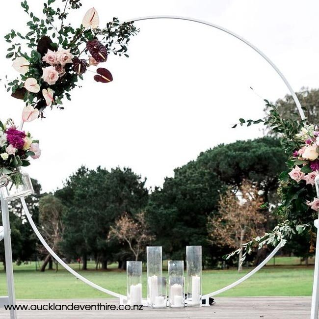 White Metal Circle Wedding Arch Auckland Event Hire