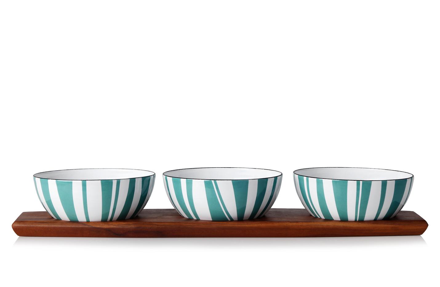 Snackset - 3 pcs bowls (10cm) moss + tray
