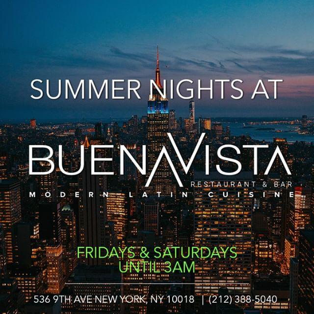Your summer nights just got better!! Experience a Latin night life Buena Vista style! • • •  #fridaynight #saturdaynight #weekendvibes #summernights #nyc #nycnightlife #fridayvibes #saturdayvibes #bottleservice #drinks #cocktails #drinkspecials #friday #saturday #nightlife