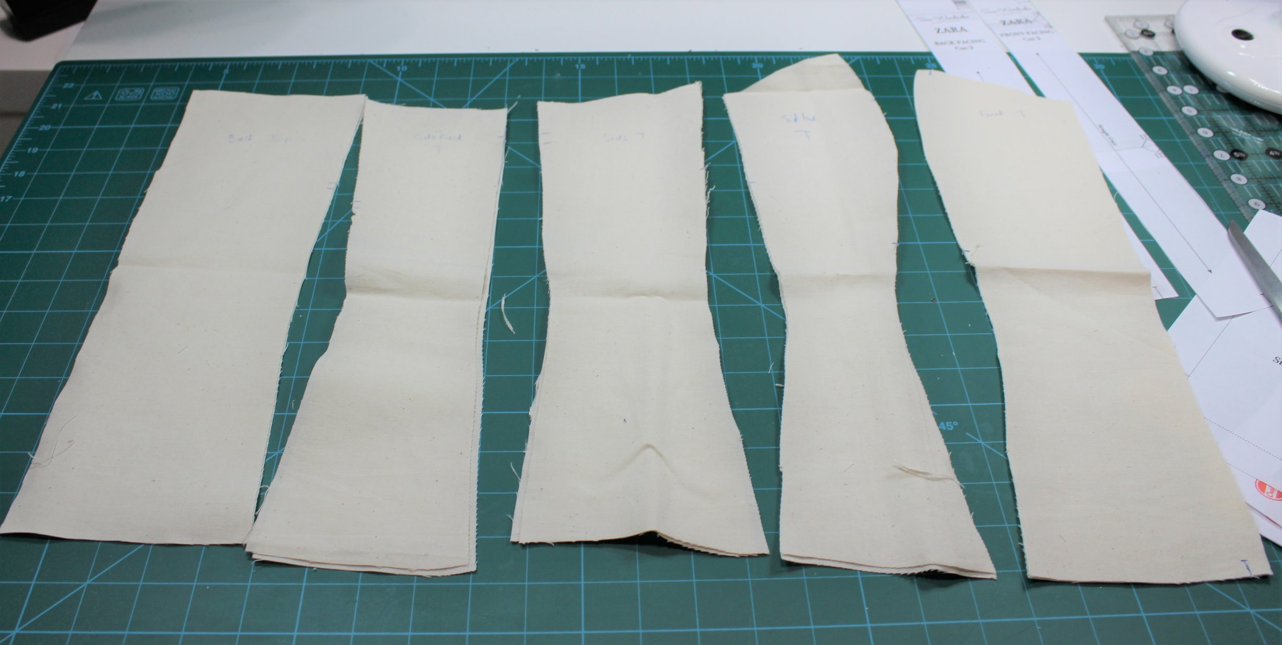All the pattern pieces cut in a stiff calico and labelled including marking top.