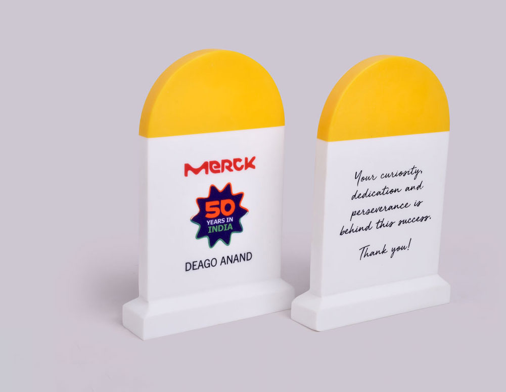 """#4. Theme-ification - """"Hey, can we make a microphone-shaped award for speakers at the event?"""" """"Hey, can we do a Japan-themed award for our sales summit in Tokyo?"""" """"Hey, can we do an integrity-themed award using Gandhi's spectacles?"""" """"Hey, can we make a milestone-shaped award?"""" Hey, these are just some of the requests we've gone the extra mile to fulfill in 2017. Clearly, it looks like the theme of the season for awards is to create something thematic."""
