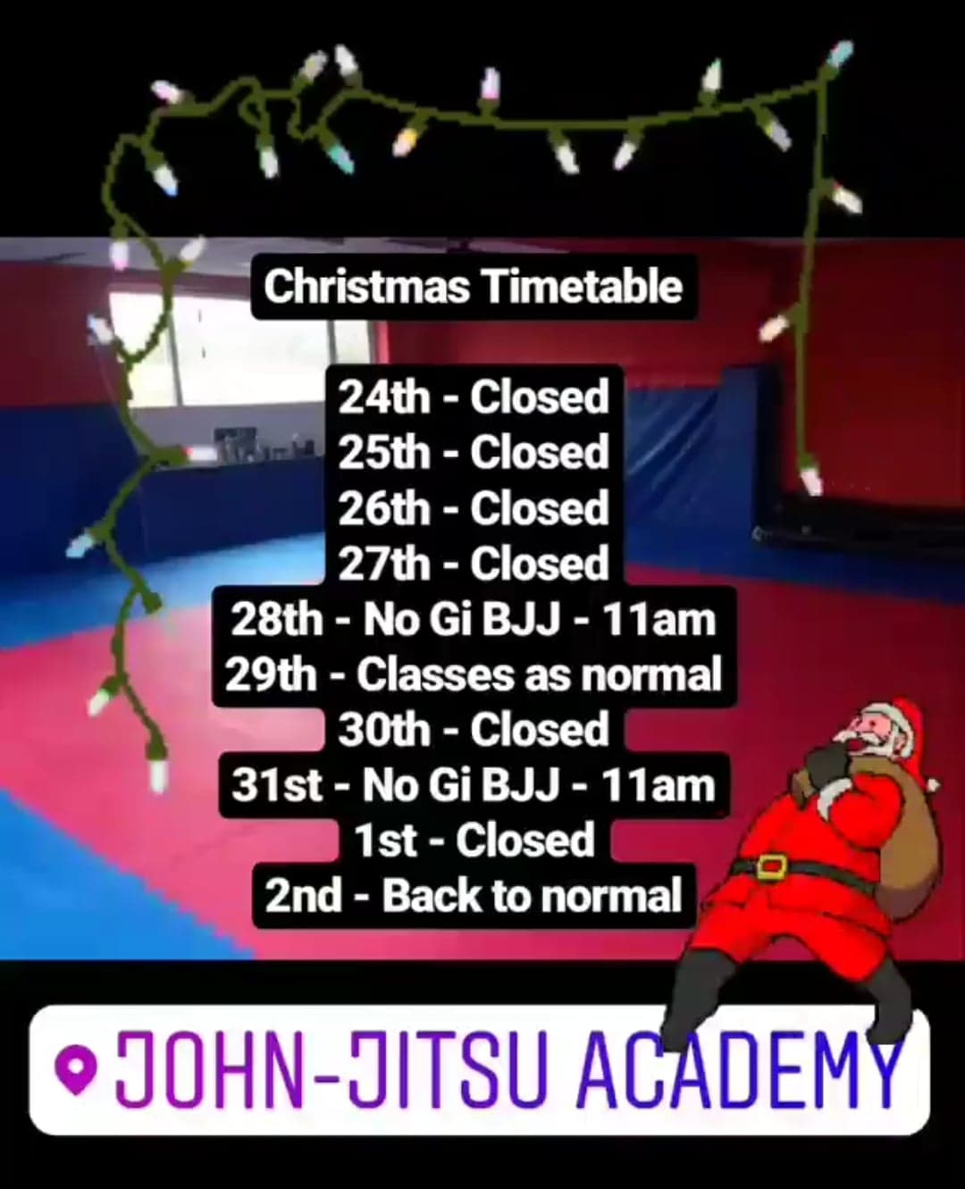 Christmas Timetable 2018 - Merry Christmas from everyone at the academy.