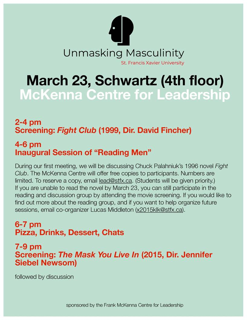"Unmasking Masculinity Screenings & ""Reading Men"" - Held at St. Francis Xavier UniversityMarch 23, 2019"
