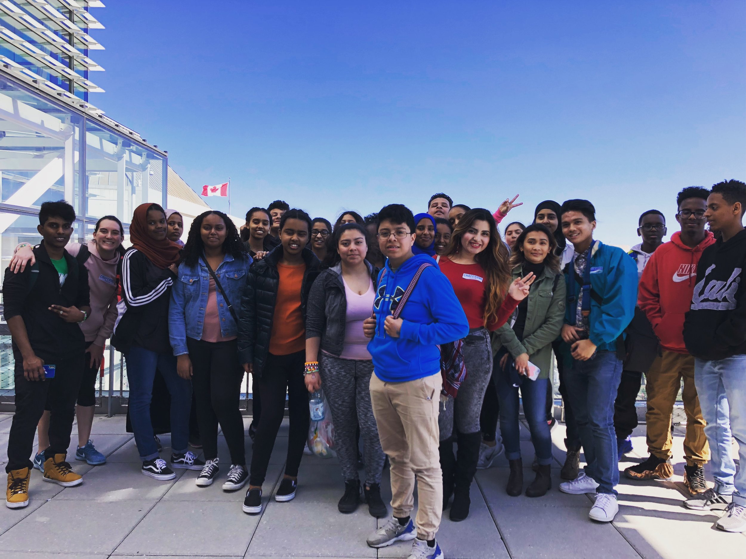 The Wheaton group on top of the Newseum in Washington, DC.JPG