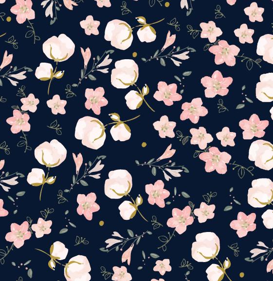 Anniversaire Lovely Flower - Thème AnniversaireCréation d'un motif type Liberty navy / rose poudré, décliné sur assiettes, gobelets, serviettes et guirlande.