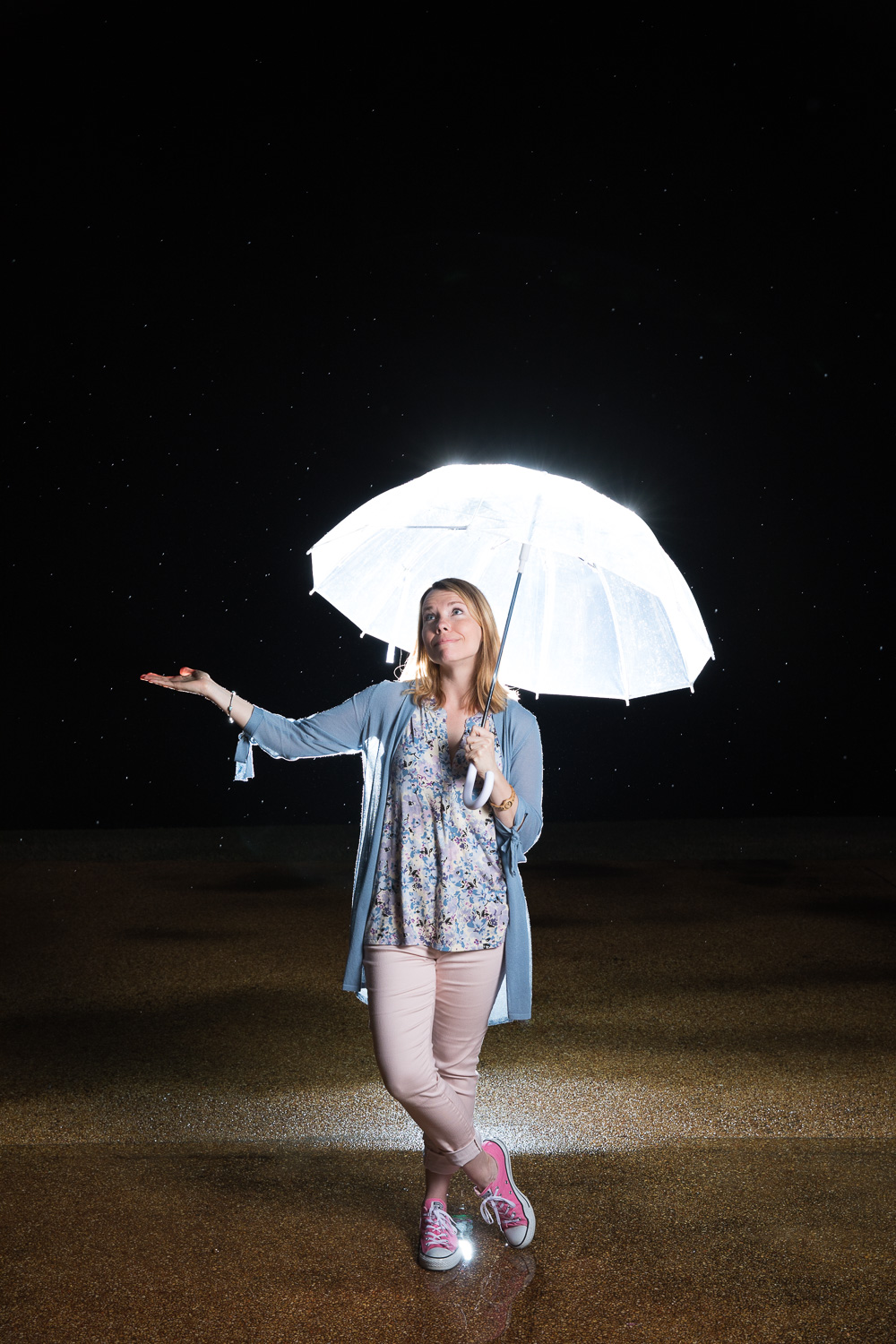 having a little fun with flashes and raindrops after Tori + Justin's sweet Southwind wedding