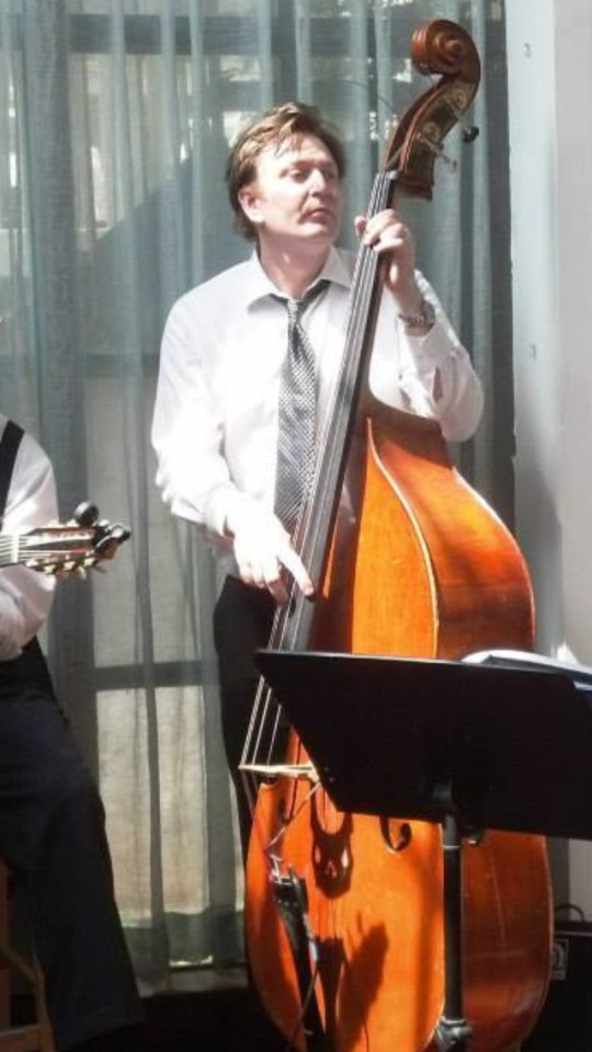 "Alex Hiele - has been playing all over the globe with French, American, Russian and African Musicians (Moscow, Berlin, London, Paris, Madrid, Barcelona, New York). He studied at the conservatory of Paris and quickly became the city's most in demand bass player. He toured in Europe with Mark Turner, and Ted Curson, and recorded three albums with french singer Mina Agossi,. Alex was also very active in the underground Parisian scene from the mid 90's to 2005 while teaching at the conservatory. He recently released original albums of his arrangements with his band ""The Alex Hiele Paris Jazz Combo"""