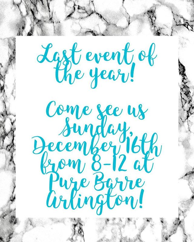 Did you hear? We've got one last chance to help polish off your holiday (or treat yo self) shopping! Come by @purebarre_arlingtonva Sunday, December 16 from 8-12! We hope to see you there!!