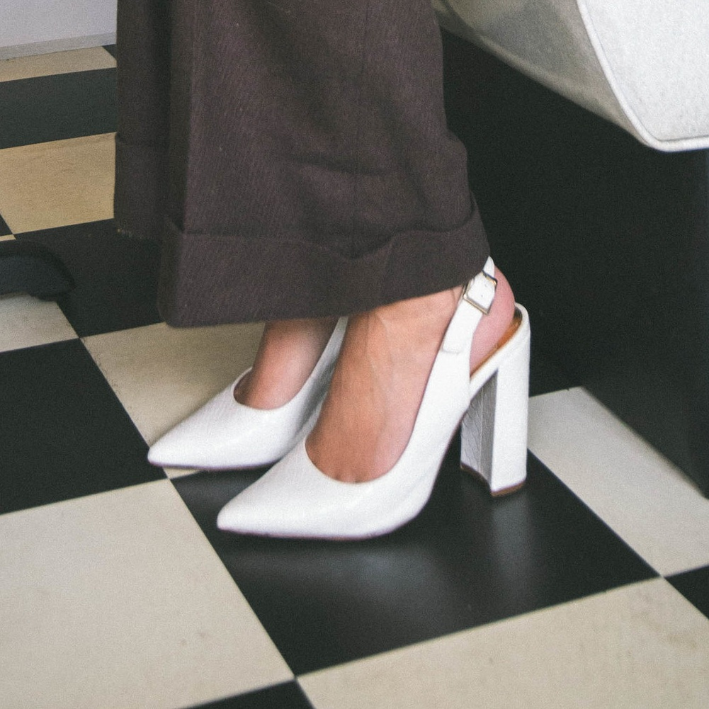 White block heel sling backcourt shoes - River Island £44.99