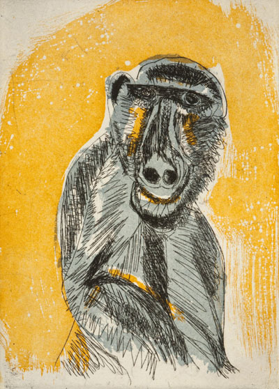 Early Man, 2012  etching & aquatint  plate size: 5 x 7 inches paper size: 11 x 14 3/4 inches $450 each $3,600 for suite of nine