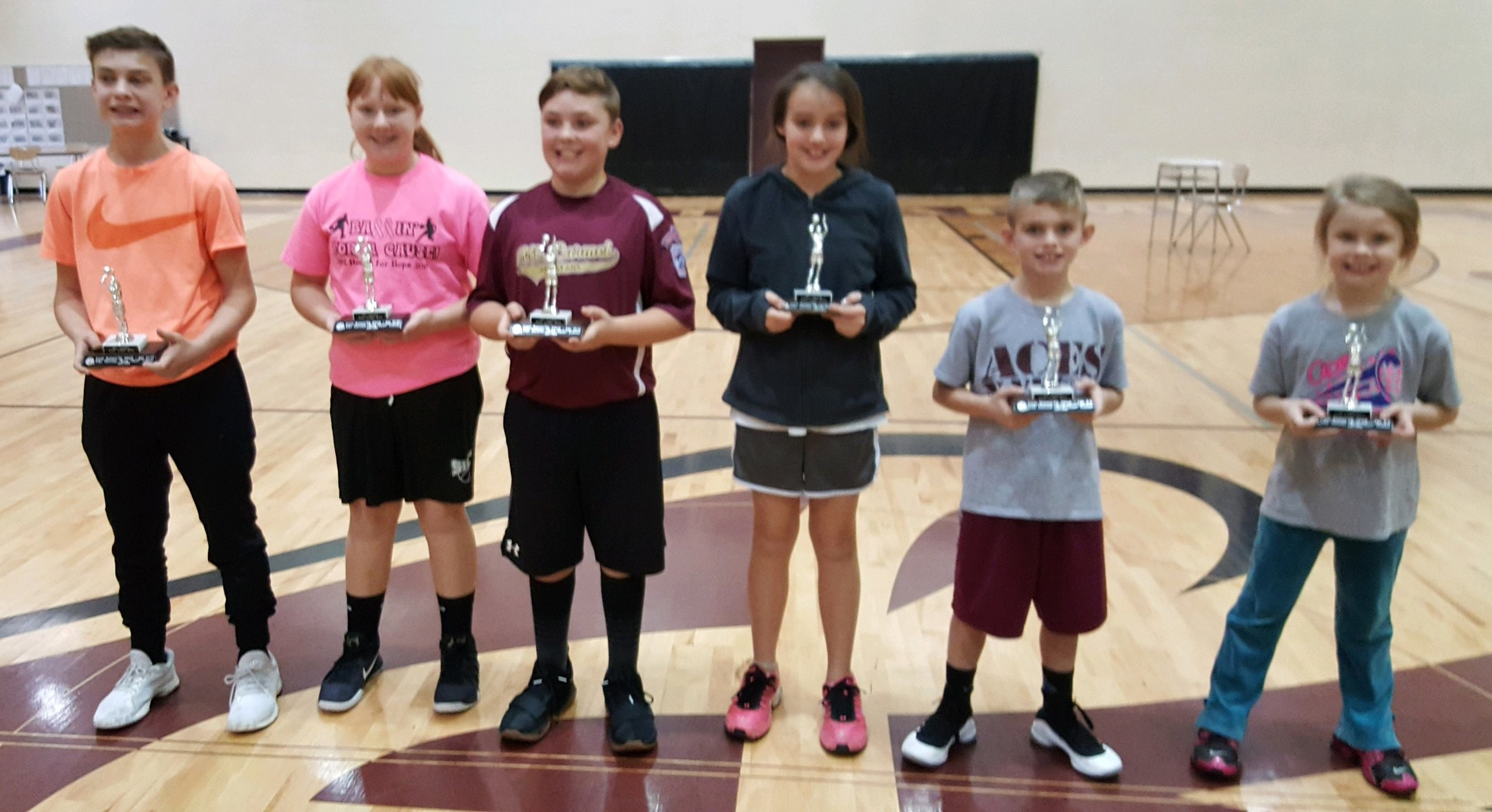Second Place Winners Picture (L-R)   Gage Kennard, Savanah Zimmerman, Levi Banks, Evie Knapp, Shain Meador, and Sophie Banks