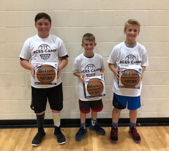 Last Second Shot Champs (L-R)  6th Grade - Levi Banks  4th Grade - Shain Meador  5th Grade - Elliott Acree