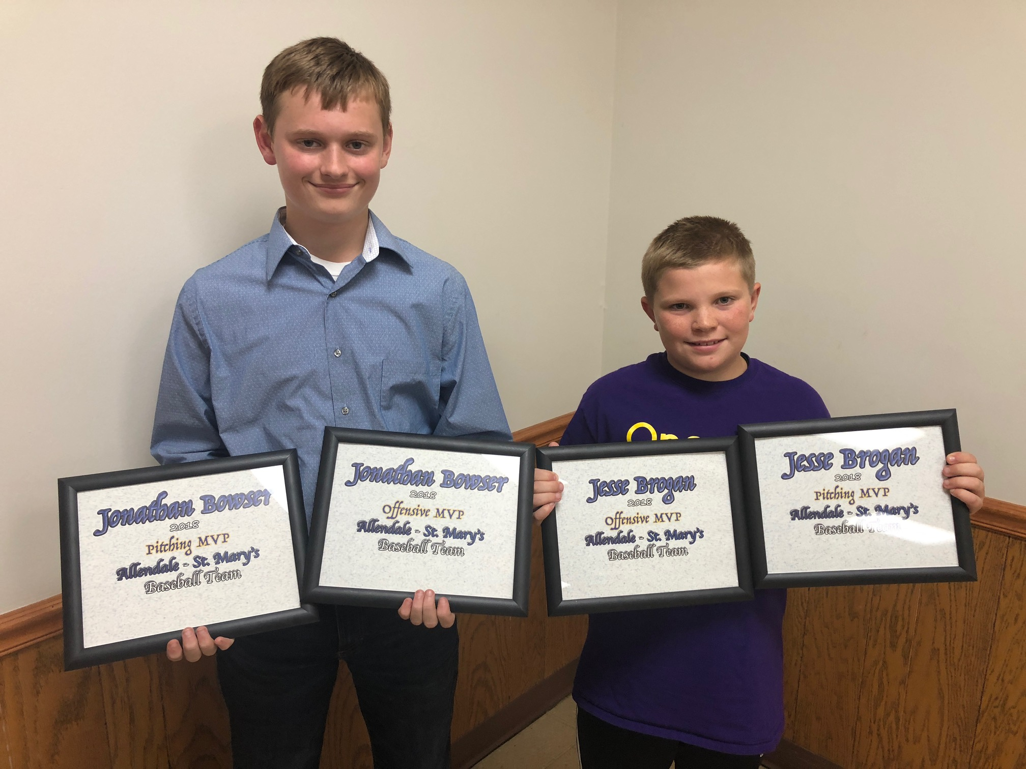 Baseball  JD Bowser and Jesse Brogan (Co-MVP Offense and Pitching)