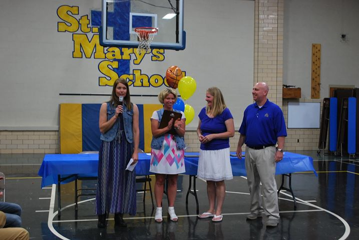 Mark and Susan Zimmerman were recognized by Nikki Fullop, SMS School Board, and Cindy Brogan, SMS Principal, for their contribution and dedication to St. Mary's School. They will be resigning from SMS Athletics at the end of the 2018-2019 school year.