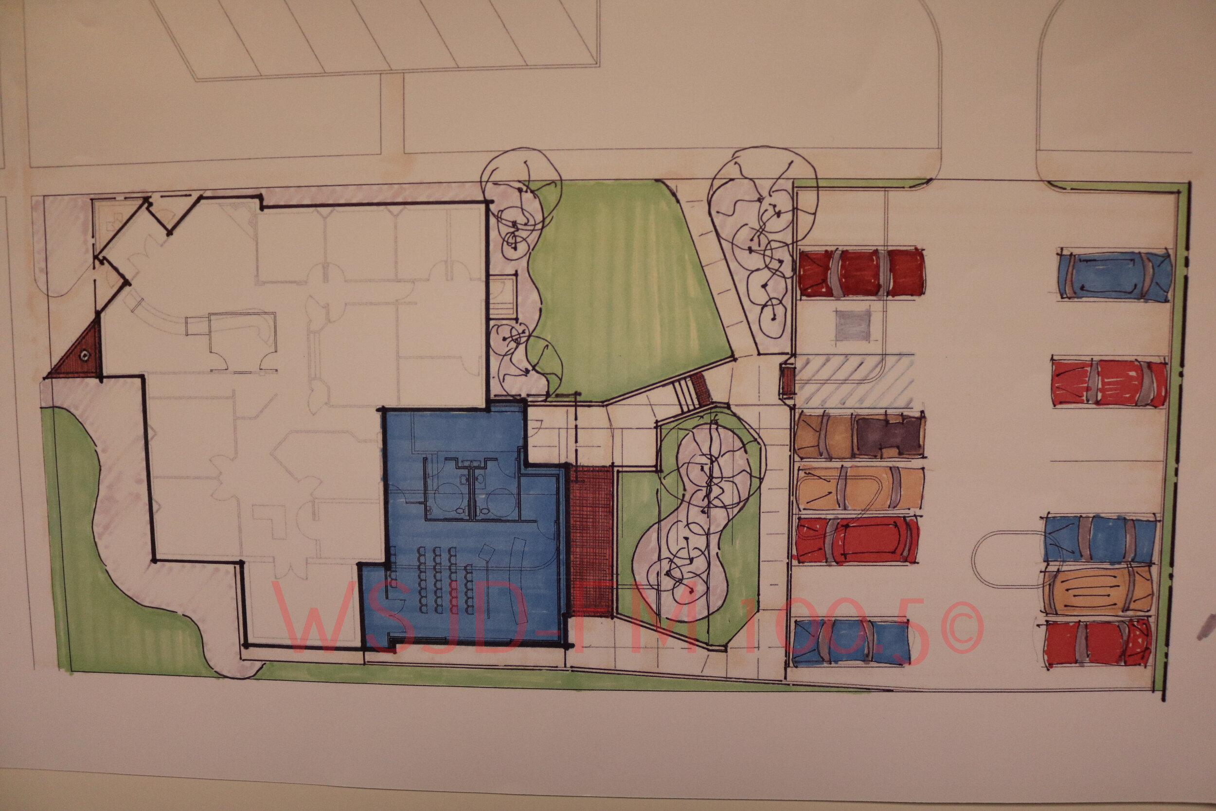 Design plans for the expansion at the new City Hall location at 631 Market Street. The new building addition is shaded in blue.