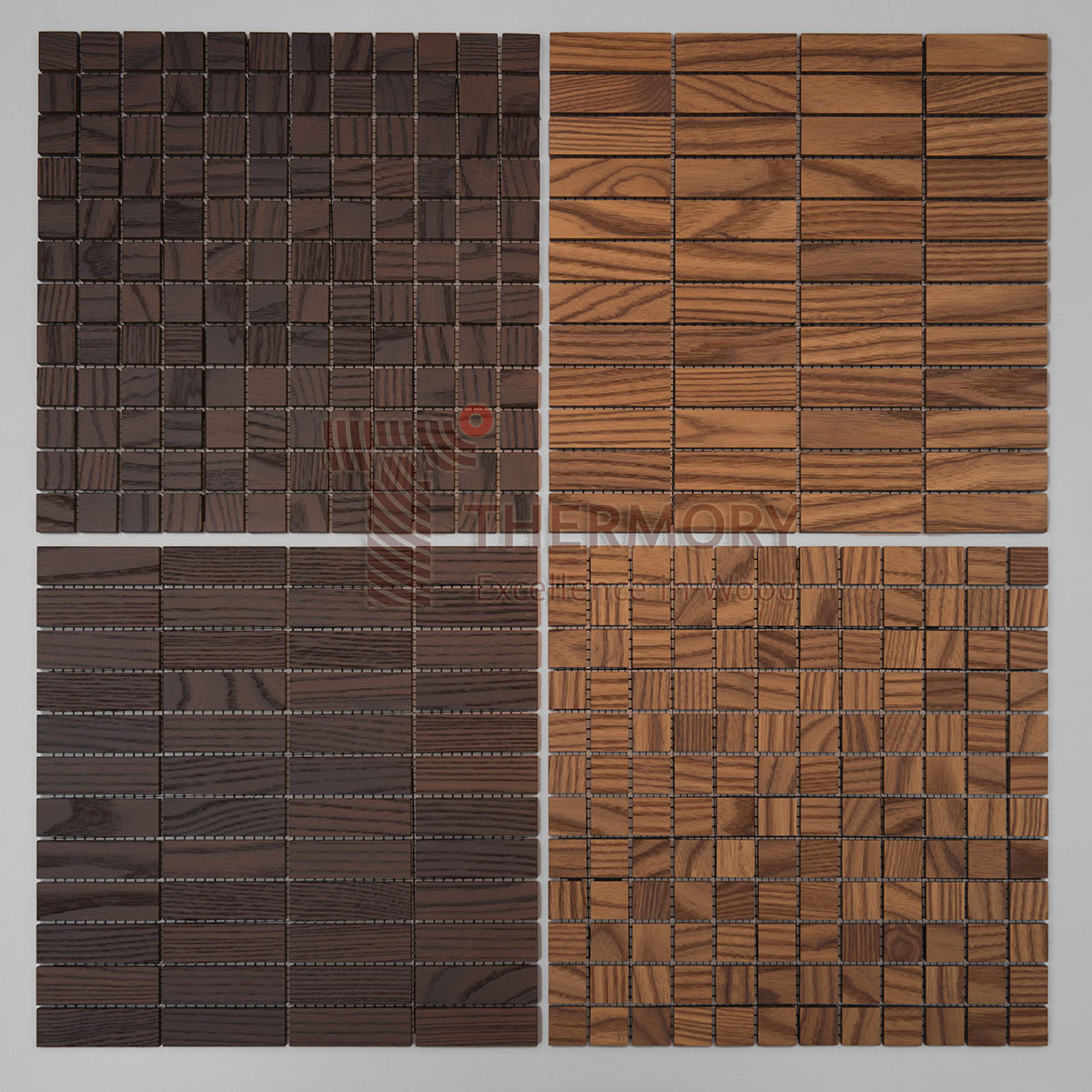 Decor tiles  9 x 298 x 298mm Medium/Intense -  Thermory® Decor mosaic tiles are a stylish alternative to ceramic tiles. They are made of medium-modified or intense-modified thermo-ash and finished with an extremely hard lacquer. Decor tiles can be used on walls and floors, including wet roomsInstallation of the Decor tiles is similar to ceramic mosaic tiles.