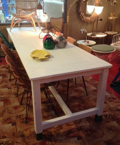 Mesa de pino antiguo con pátina blanca - Se hace a medida