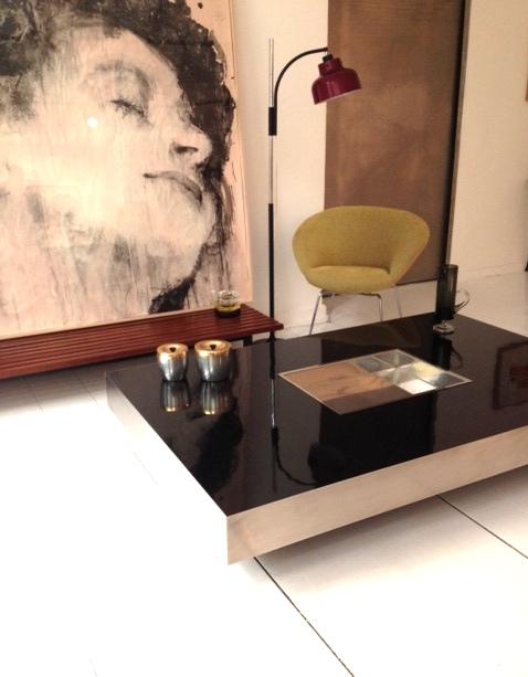Coffee table en acero y formica negra - Se hace a medida