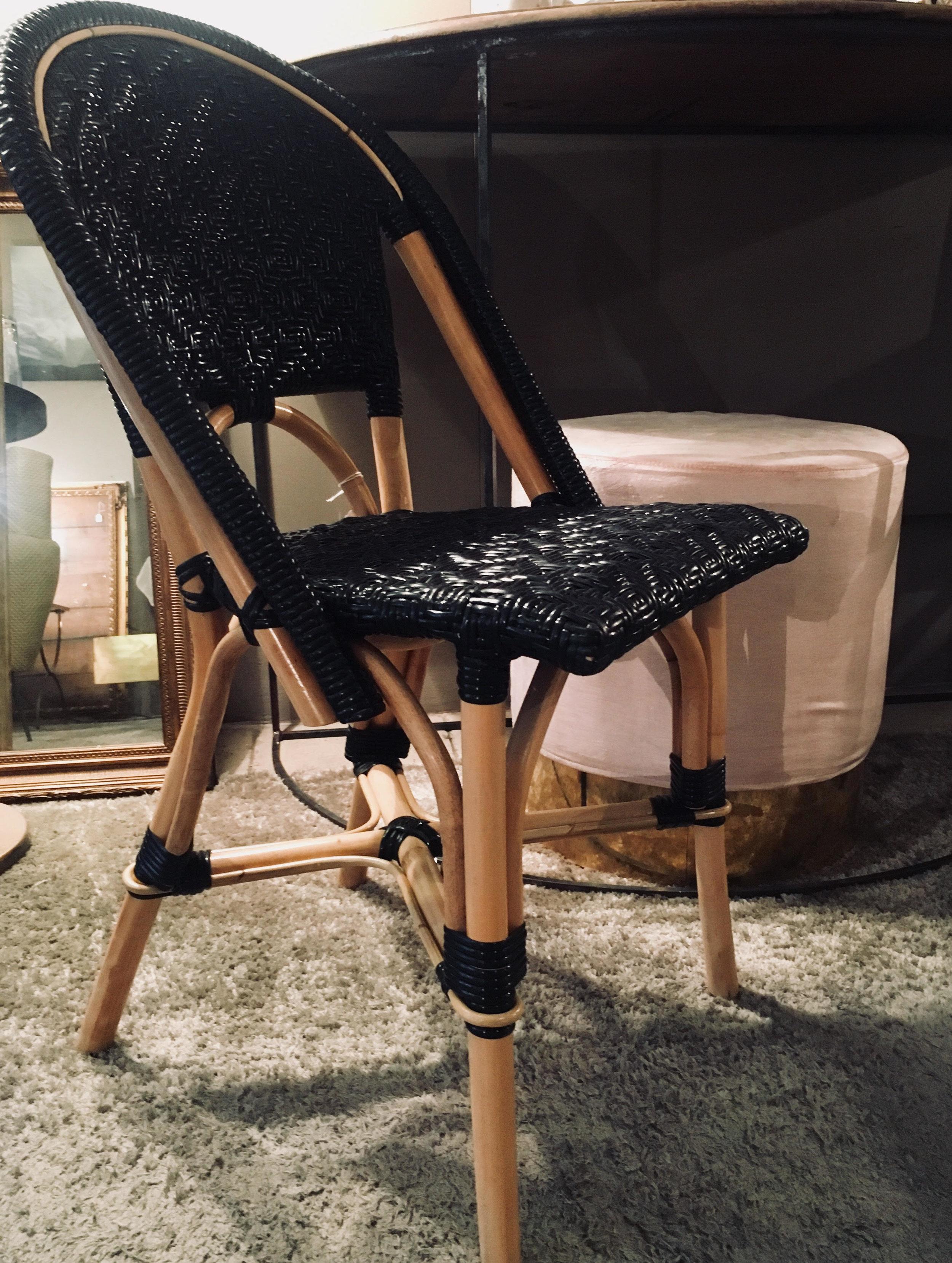 Silla Bistrot trenzado negro